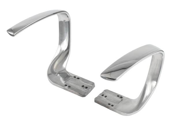 Solid aluminium armrest with polished surface