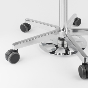 Foot release for medical stools and swivel chairs