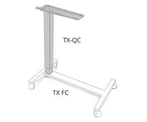 Höhenverstallbare Tischsäule