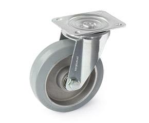 Lenkrolle mit grauer Vollgummibereifung und Aluminiumfelge mit Kugellager