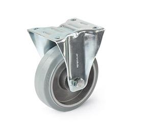 Bockrolle mit grauer Vollgummibereifung und Aluminiumfelge mit Kugellager