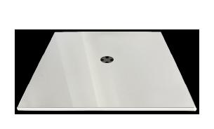 Fußplatte mit Edelstahlabdeckung quadratisch für Sessel oder Tische