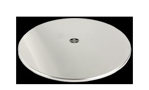 Fußplatte mit Edelstahlabdeckung für Tische oder Sessel