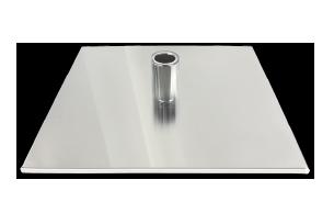Fussplatte mit Edelstahlabdeckung quadratisch und Standrohraufnahme für Gasfeder