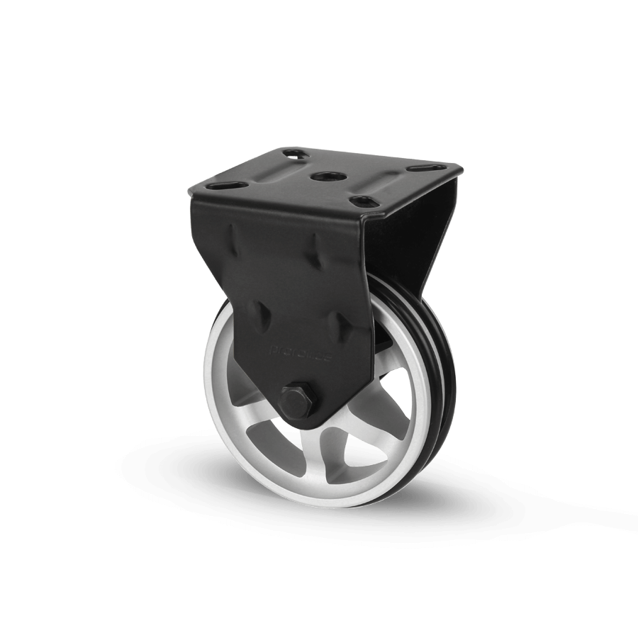 apparaterolle-253-2A11-aluminiumspeichen-schwarz-bockrolle