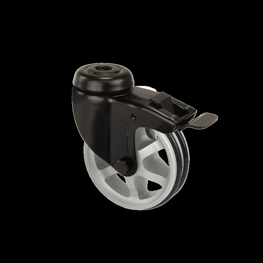 apparaterolle-253-2A11-aluminiumspeichen-schwarz-rueckenloch-feststeller