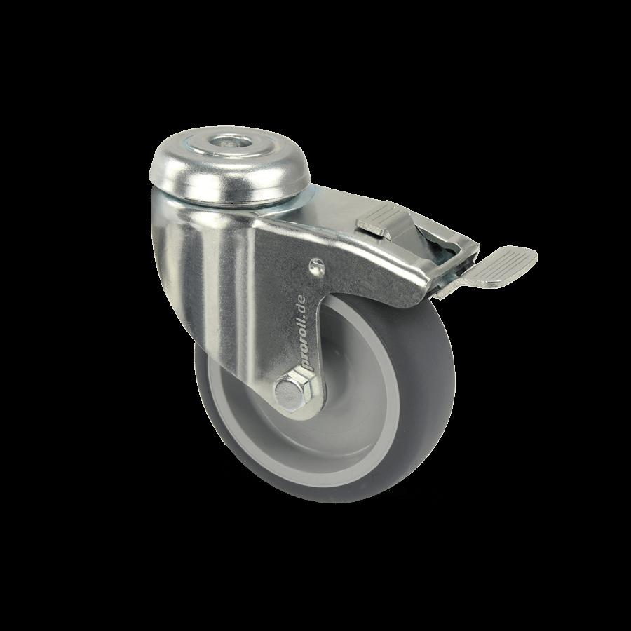 apparaterolle-253-2A2-kunststofffelge-rueckenloch-feststeller