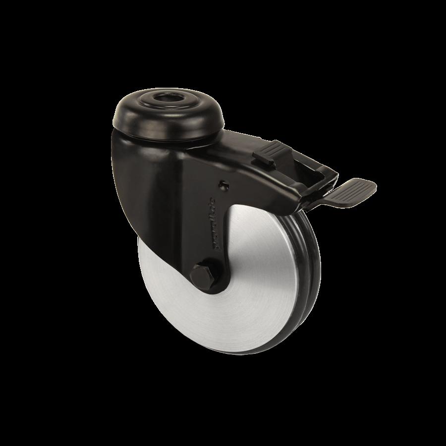 apparaterolle-253-2A8-aluminiumrolle-schwarz-rueckenloch-feststeller