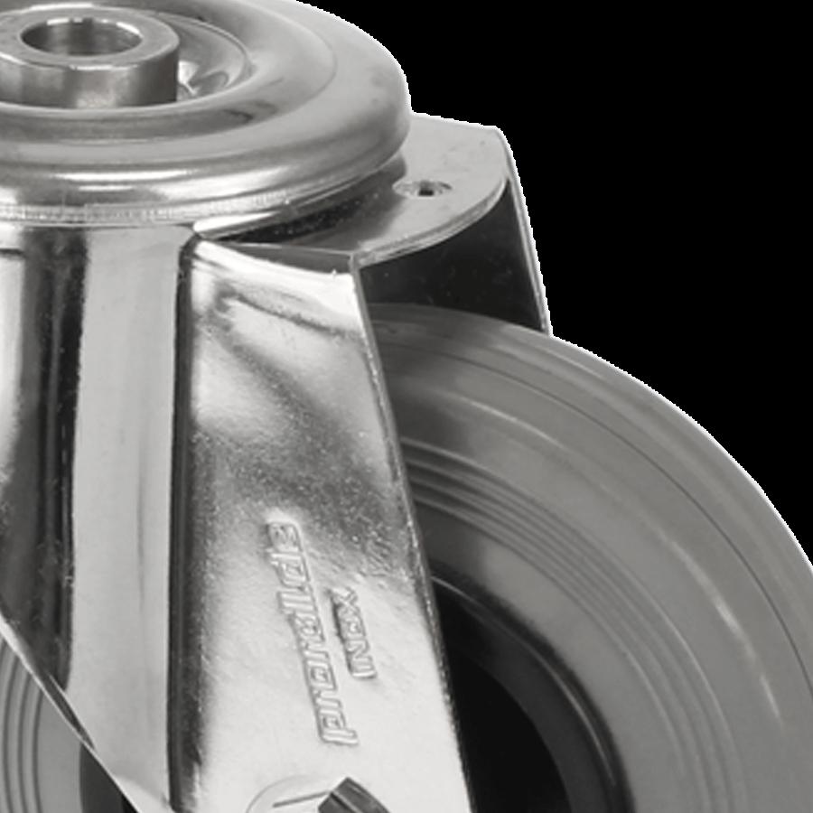 stal nierdzewna - rolka-2E11-450 - guma cierna - otwór - detal