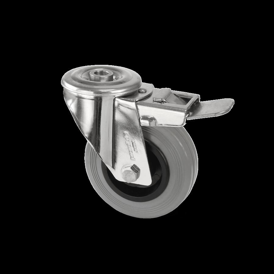 Zestaw kołowy skrętny ze stali nierdzewnej z całkowitym hamulcem i ogumieniem