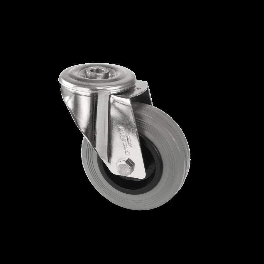 Zestaw kołowy skrętny ze stali nierdzewnej z oponami gumowymi