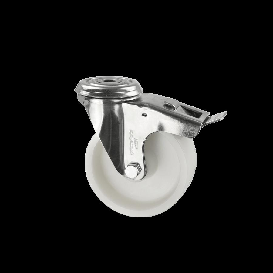 edelstahlrolle-2E4-450-kunststofffelge-rueckenloch-feststeller