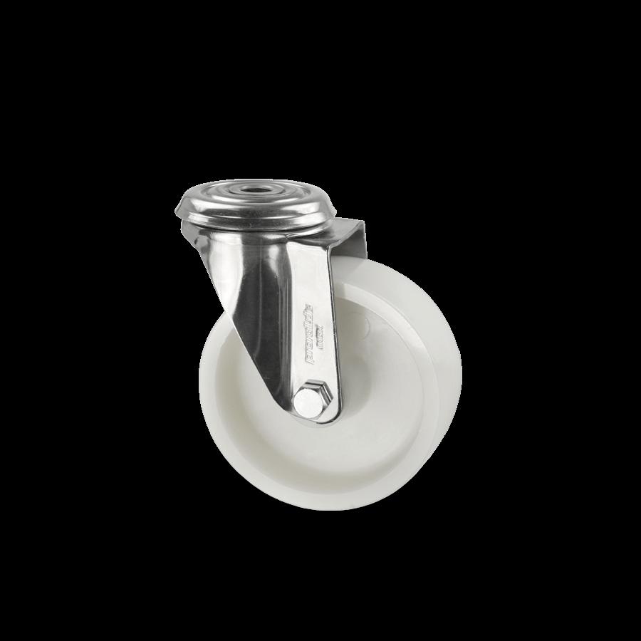 edelstahlrolle-2E4-450-kunststofffelge-rueckenloch-weiss
