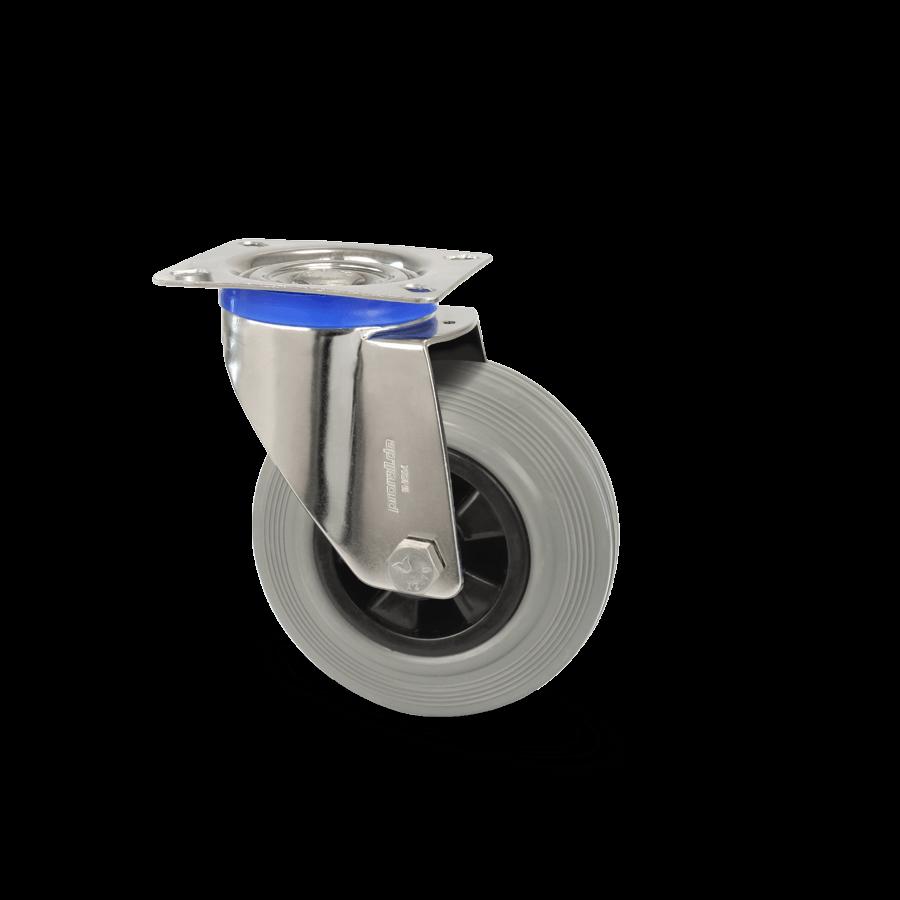 edelstahlrolle-2E7-450E-vollgummibereifung-polyamidfelge-platte