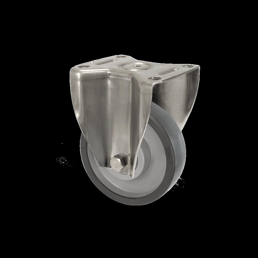 Rostfreie Edelstahlrolle mit Bockgehäuse und Kugellagerrad für bis zu 500kg Belastung