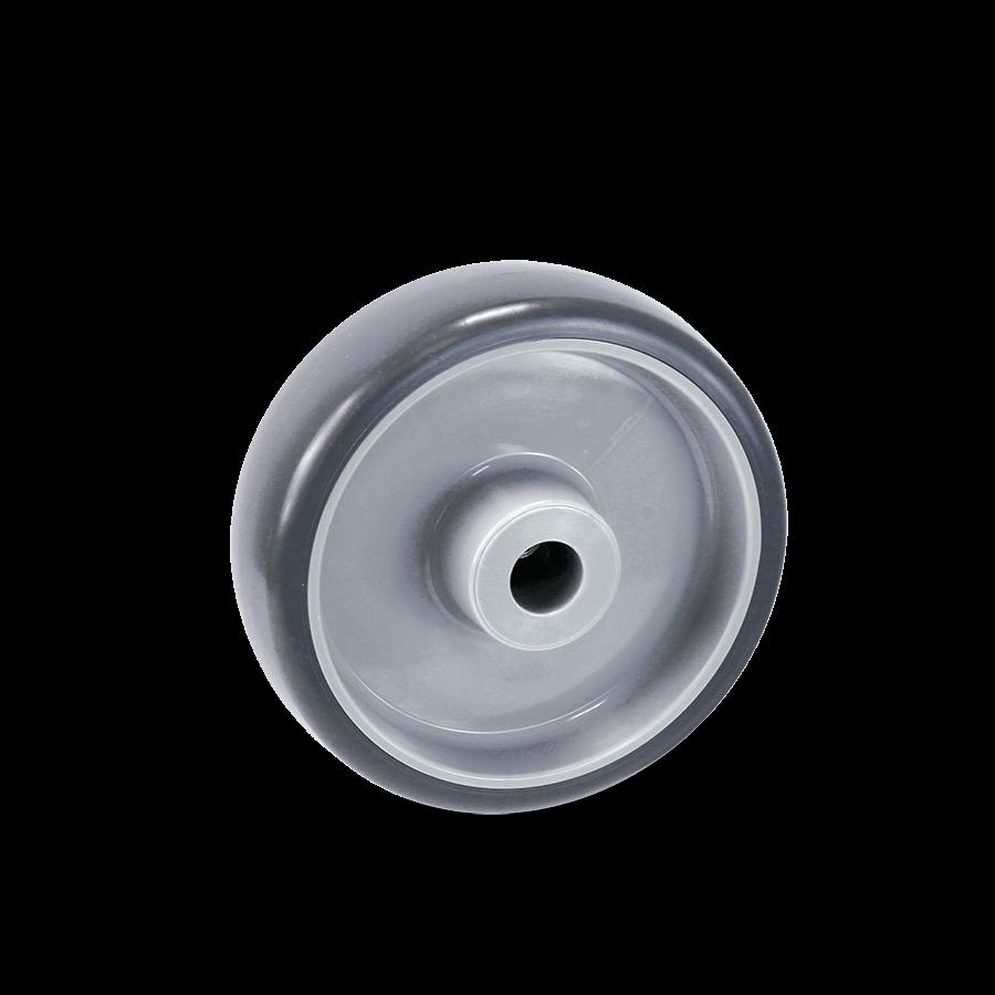 Rolle mit dunkelgrauer Lauffläche aus Polyurethan