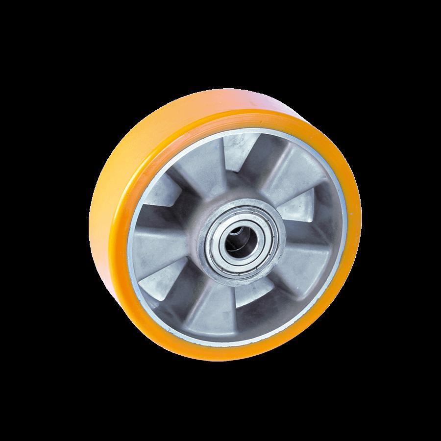 Aluminium-Druckgussfelge mit Polyurethanbandage in orange