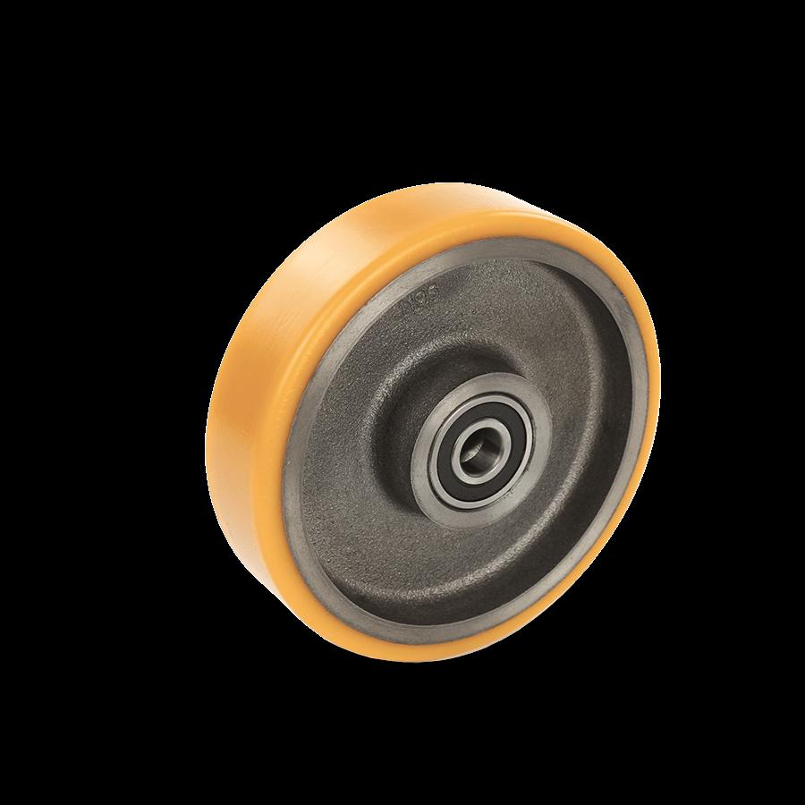 Schwerlastrolle mit Graugussfelge und Polyurethanbandage in orange