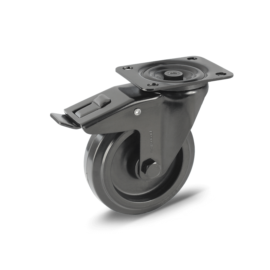 transportrolle-2T3-455-schwarz-gepulvert-kunststofffelge-feststeller