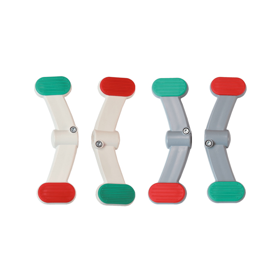 Bremspedal für Krankenbettrollen in grau und weiß sowie links und rechts