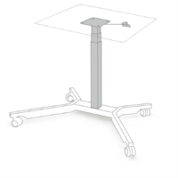 Table column which can be extended by means of a hydraulic gas pressure column