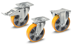 Transport castors with aluminium wheel