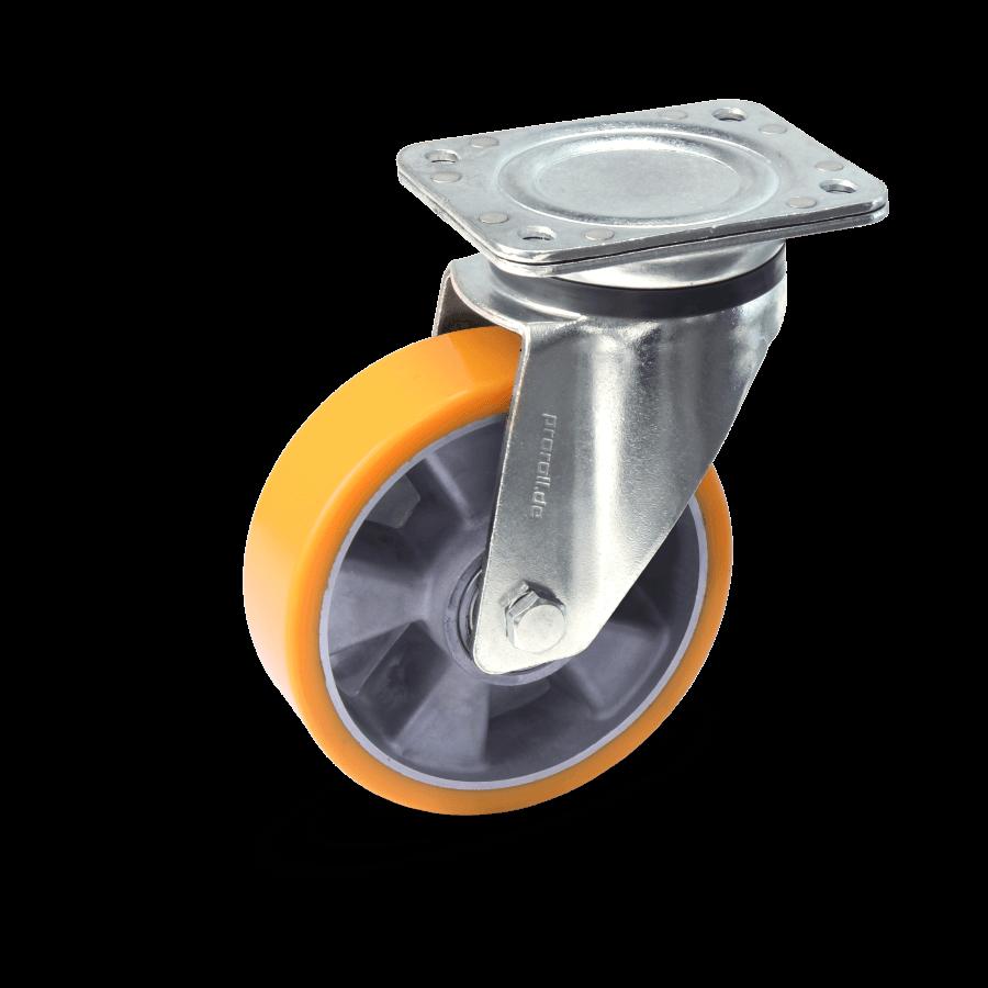 Heavy duty castor with cast aluminium rims ball bearings and polyurethane wheels