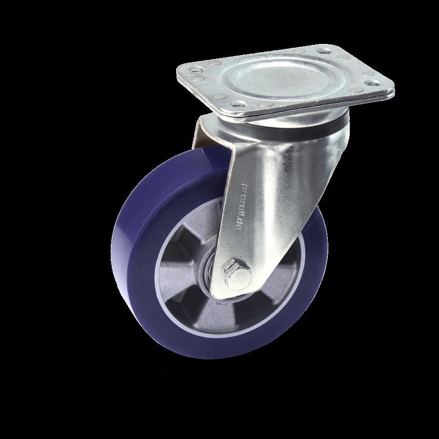 Heavy duty castors with cast aluminium rim and soft wheels and ball bearing