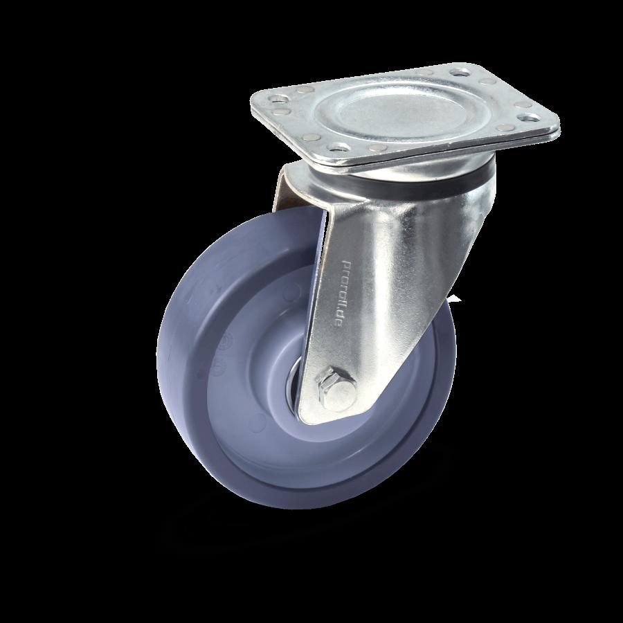 Heavy duty castor with ball bearing and polyurethane wheels
