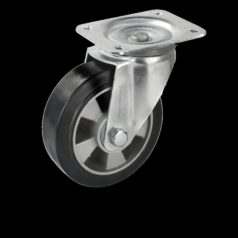 Transport castors with aluminium rims and castors bearings as well as elastic rubber wheels