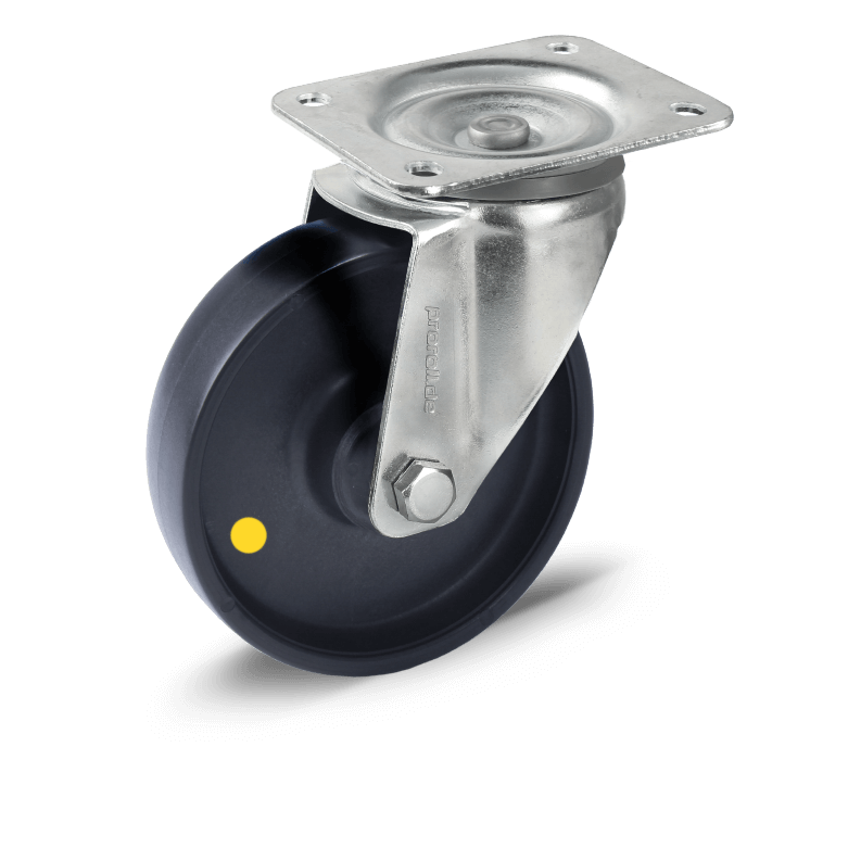 Sheet steel castor or swivel castor with black electrically conductive