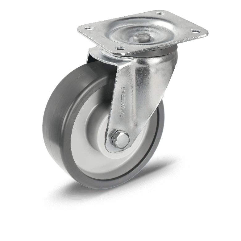 Transport castors with polyurethane and ball bearings grey wheels