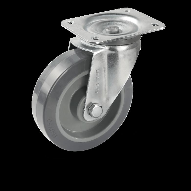 Transport castors Swivel castor with plastic rim and castors bearing and elastic rubber wheels