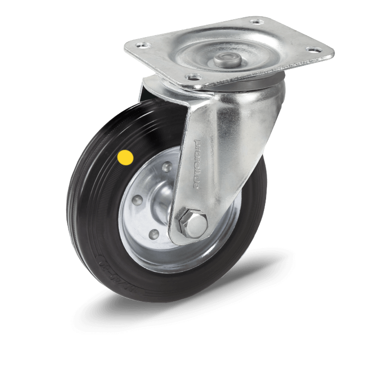 Transport castors with solid rubber tyres electrically conductive
