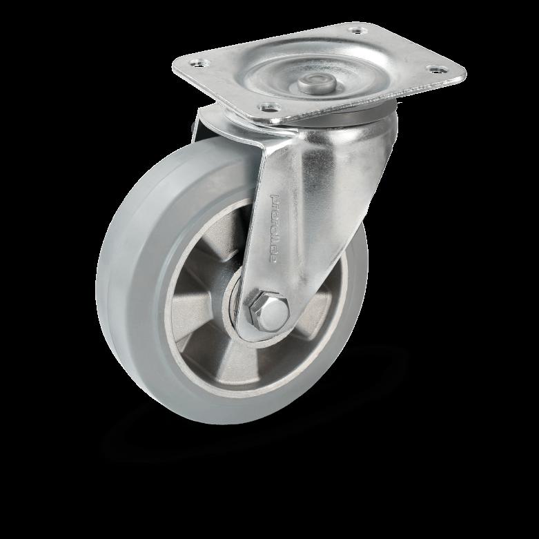 Transport castors with aluminium rims and castors bearings and elastic rubber wheels grey wheels